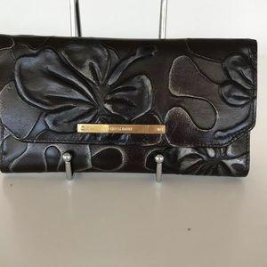 NWOT Brown Umbria Leather Checkbok wallet embossed